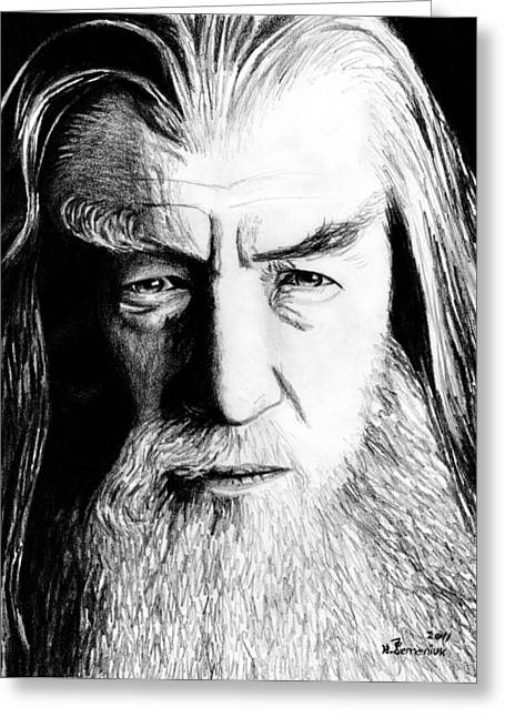 Lord Of The Rings Drawings Greeting Cards - Wise Wizard Greeting Card by Kayleigh Semeniuk