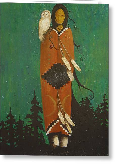 Woman And Owl Greeting Cards - Wise Woman Greeting Card by Carrie Wachter