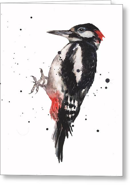 Red And Black Greeting Cards - Wise Woody Greeting Card by Alison Fennell