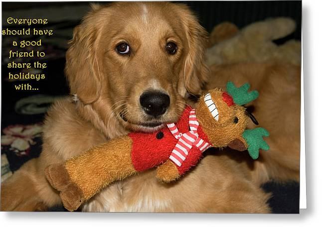 Golden Retriever Cards Greeting Cards - Wish For A Christmas Friend Greeting Card by Lorraine Devon Wilke