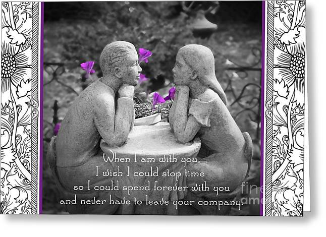 Garden Statuary Greeting Cards - Wish I Could Stop Time Greeting Card by K Hines