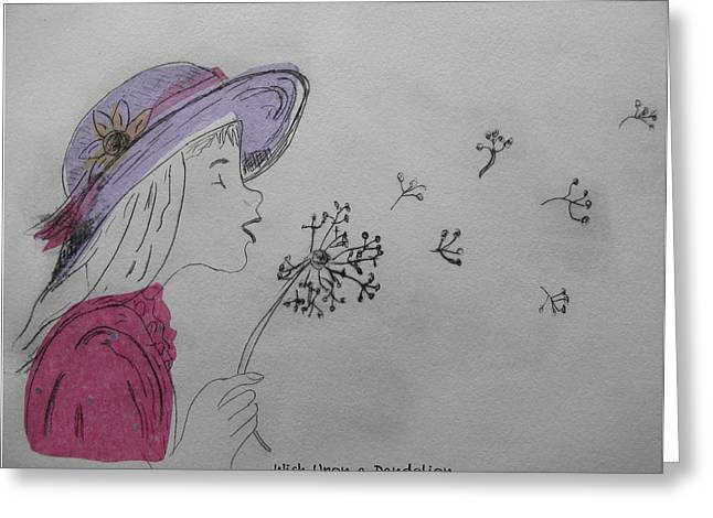 Drypoint Greeting Cards - Wish Upon a Dandelion in Colour Greeting Card by Jennifer Schwab
