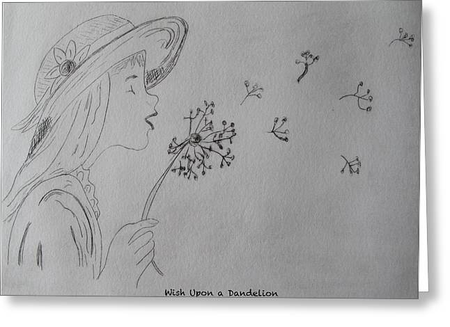 Drypoint Greeting Cards - Wish Upon a Dandelion Greeting Card by Jennifer Schwab