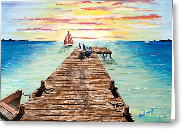 Sailboats Docked Greeting Cards - Wish You Were Here Greeting Card by Christi Barrett