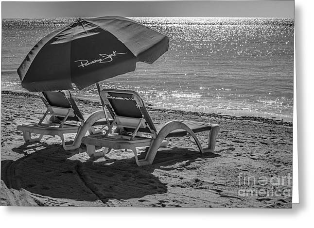 Wishes Greeting Cards - Wish you were here - Higgs Beach - Key West - Black and White Greeting Card by Ian Monk