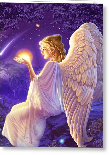 Recently Sold -  - Night Angel Greeting Cards - Wishing Star Variant 2 Greeting Card by Andrew Farley
