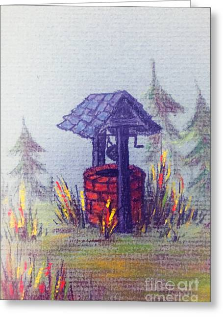 Wishes Pastels Greeting Cards - Wishing Well Greeting Card by Teresa Ascone