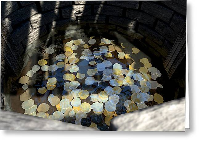 Wish Greeting Cards - Wishing Well With Coins Perspective Greeting Card by Allan Swart
