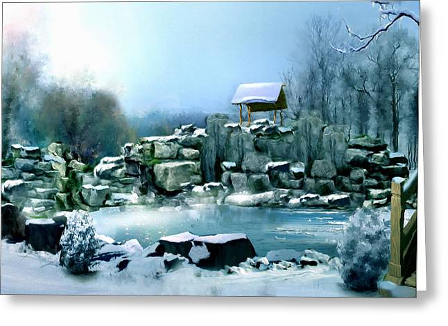 Mystical Landscape Mixed Media Greeting Cards - Wishing Well Greeting Card by Georgiana Romanovna