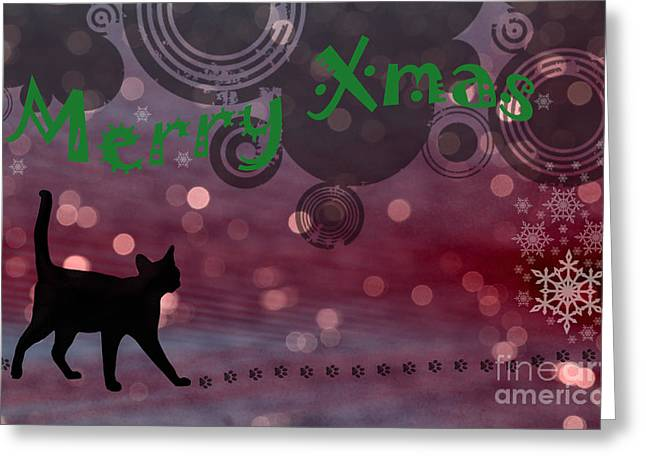 Wishing You All A Purrfect Xmas... Greeting Card by Nina Stavlund
