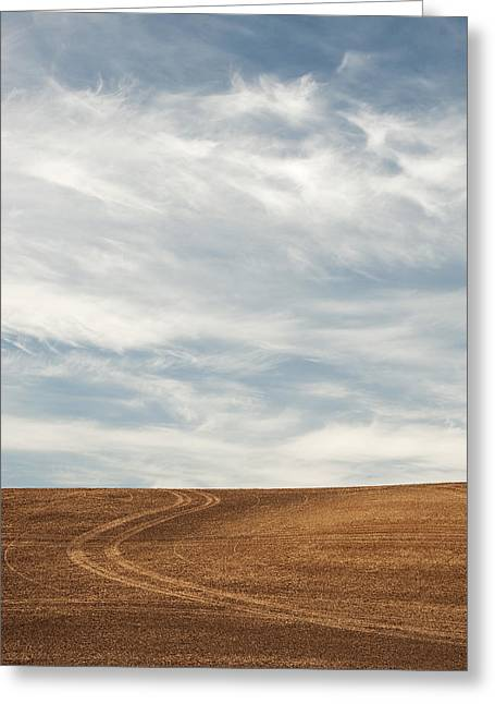 Contour Plowing Greeting Cards - Wispy Clouds Greeting Card by Latah Trail Foundation