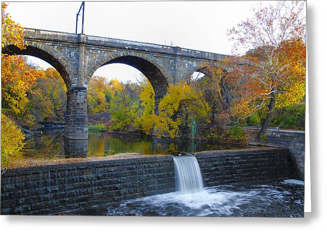 Wissahickon Greeting Cards - Wissahickon Falls at Ridge Avenue in Autumn Greeting Card by Bill Cannon