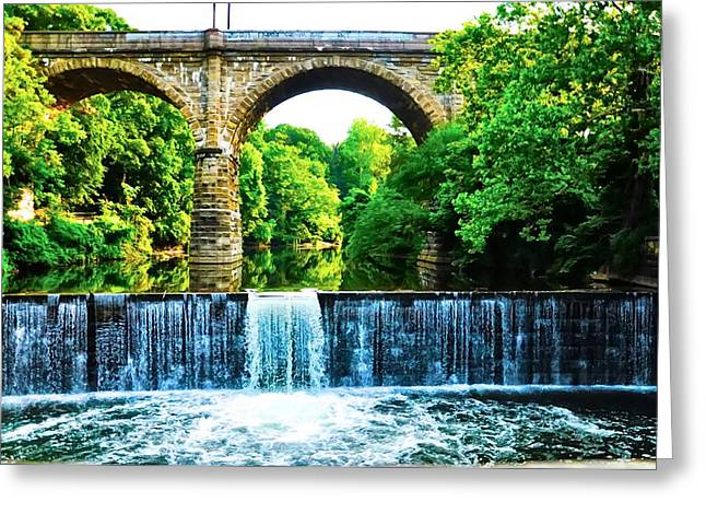 Water Fall Digital Art Greeting Cards - Wissahickon Falls Greeting Card by Bill Cannon