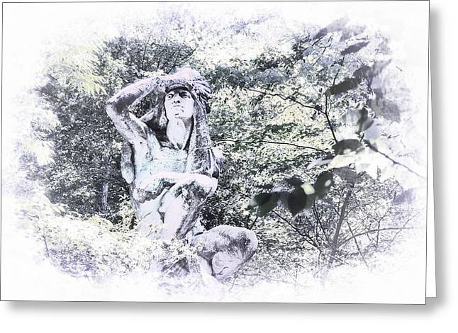 Wissahickon Greeting Cards - Wissahickon Indian Statue Greeting Card by Bill Cannon