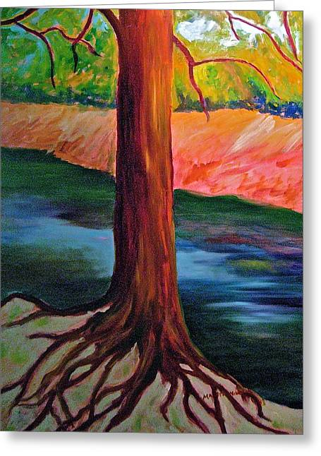 Tree Roots Paintings Greeting Cards - Wissahickon Roots Greeting Card by Marita McVeigh