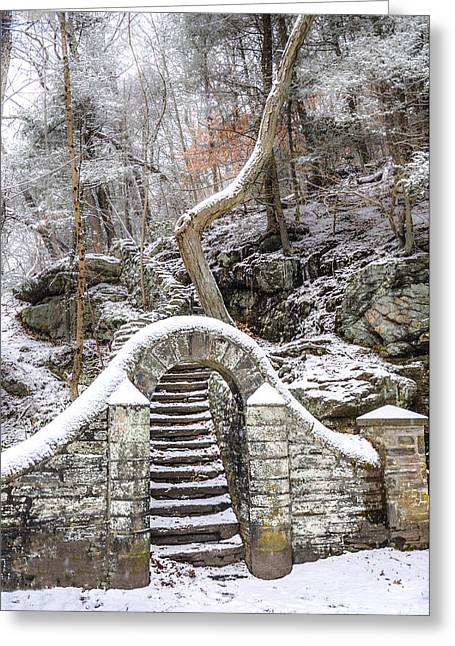 Wissahickon Greeting Cards - Wissahickon Steps in the Snow Greeting Card by Bill Cannon