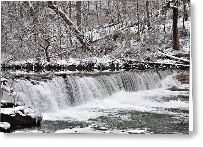 Wissahickon Greeting Cards - Wissahickon Waterfall in Winter Greeting Card by Bill Cannon