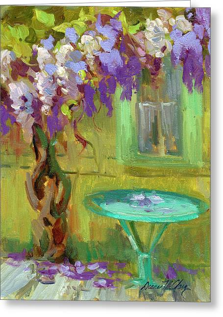 Wisteria Greeting Cards - Wisteria At Hotel Baudy Greeting Card by Diane McClary