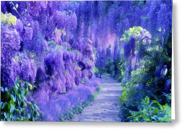 Fine Mixed Media Greeting Cards - Wisteria Dreams Impressionism Greeting Card by Georgiana Romanovna
