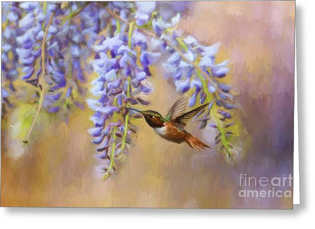 Trellis Greeting Cards - Wisteria Elegance Greeting Card by Darren Fisher