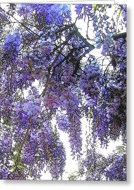 Dripping Vines Greeting Cards - Wisteria - Fun Version 3 Greeting Card by Jodie Marie Anne Richardson Traugott          aka jm-ART