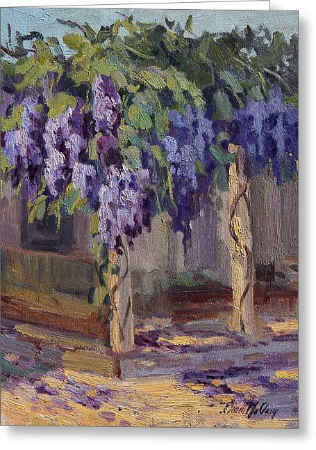 Wisteria Greeting Cards - Wisteria in Bloom Greeting Card by Diane McClary