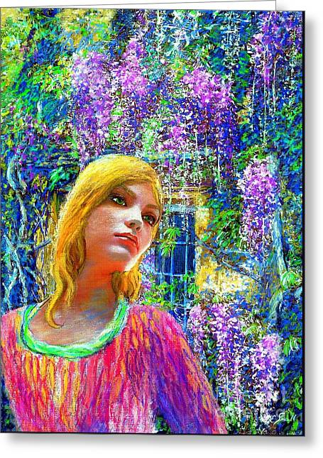 Beautiful Face Greeting Cards - Wisteria Greeting Card by Jane Small