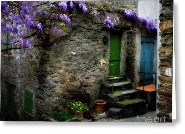 Provence Village Greeting Cards - Wisteria on Stone House Greeting Card by Lainie Wrightson