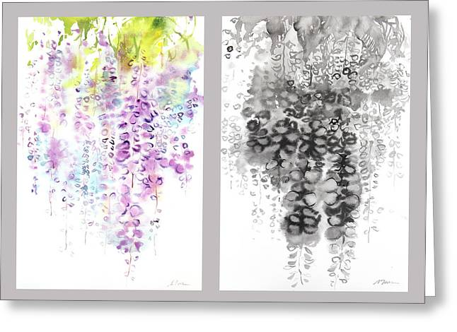 Millbury Greeting Cards - Wisteria Greeting Card by Sumiyo Toribe