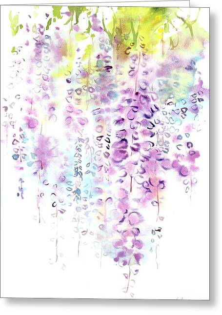 Millbury Greeting Cards - Wisteria watercolor version Greeting Card by Sumiyo Toribe