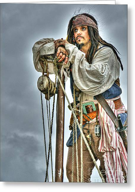 Jack Sparrow Greeting Cards - Wistful Greeting Card by Larry Ricker