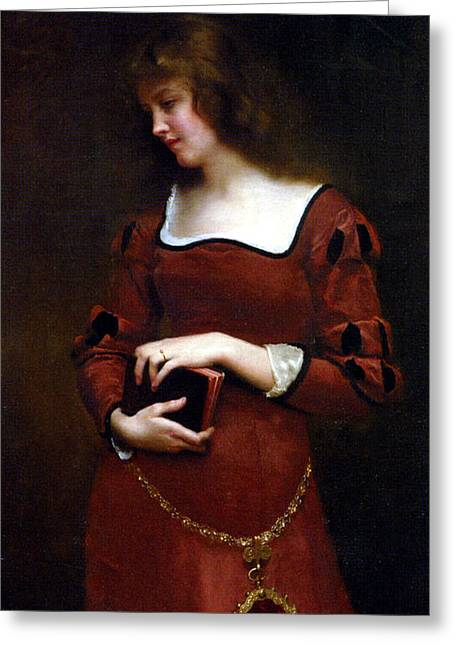 Gold Chain Greeting Cards - Wistful Thoughts Greeting Card by Gustave Jean Jacquet