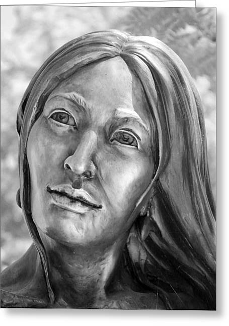 Intrigue Greeting Cards - Wistful Woman bw Greeting Card by Elizabeth Sullivan