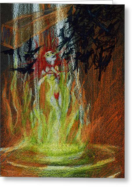 Burning Crucifixion Greeting Cards - Witch Ashes Greeting Card by Kd Neeley