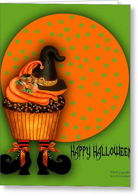 Halloween Card Greeting Cards - Witch Cupcake 2  Greeting Card by Carol Cavalaris