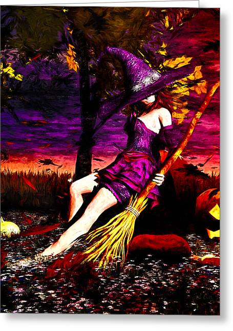 Wiccan Greeting Cards - Witch in the Punkin Patch Greeting Card by Bob Orsillo