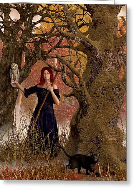 Witch Halloween Cat Wicca Greeting Cards - Witch of the Autumn Forest  Greeting Card by Daniel Eskridge