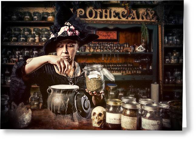 Witches Brew Greeting Cards - Witch  Greeting Card by Renee Keith