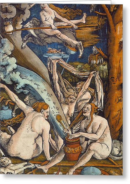 Woodcut Paintings Greeting Cards - Witches Greeting Card by Hans Baldung Grien