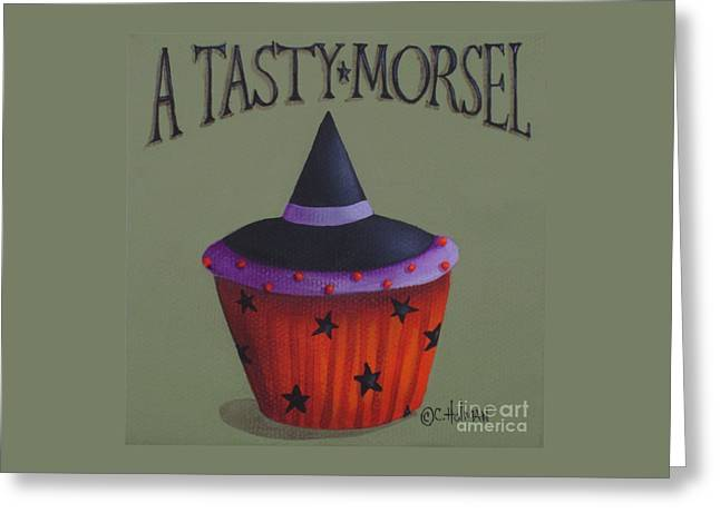 Halloween Folk Art Greeting Cards - Witches Hat Tasty Morsel Cupcake Greeting Card by Catherine Holman