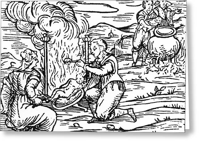 Heathen Greeting Cards - Witches roasting and boiling infants Greeting Card by Italian School