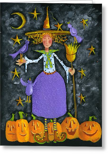 Halloween Pastels Greeting Cards - Witchie Greeting Card by Pat Olson