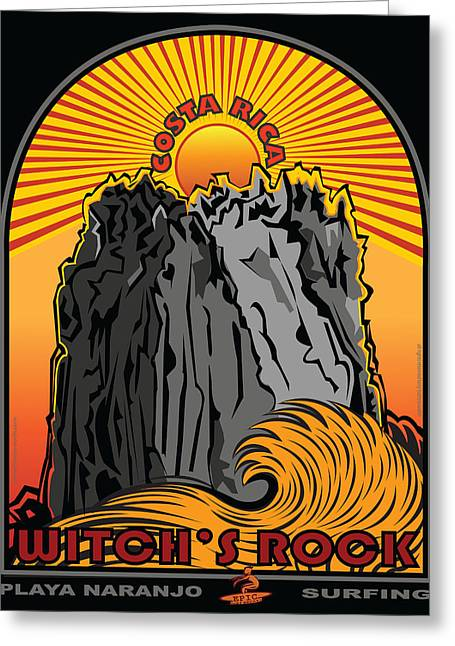 Larry Butterworth Greeting Cards - Witchs Rock Costa Rica Surfing Greeting Card by Larry Butterworth