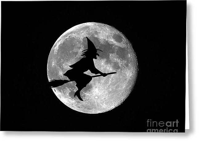 Creepy Digital Art Greeting Cards - Witchy Moon Greeting Card by Al Powell Photography USA