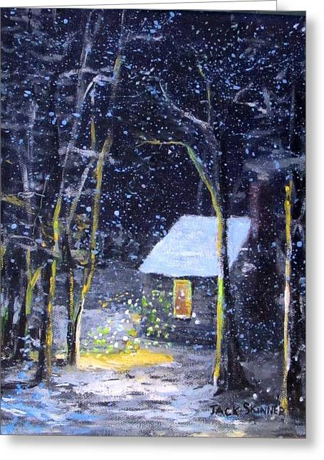 Walden Pond Greeting Cards - Wintery  night at Thoreaus Cove Greeting Card by Jack Skinner