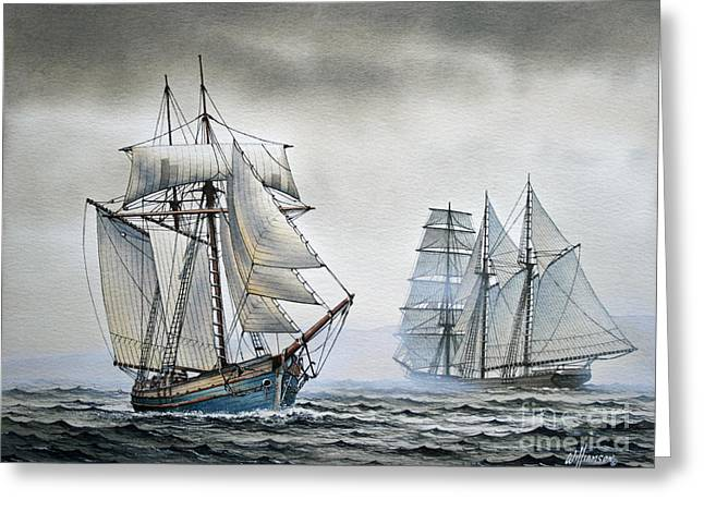 Tall Ships Greeting Cards - With a Fair Wind Greeting Card by James Williamson