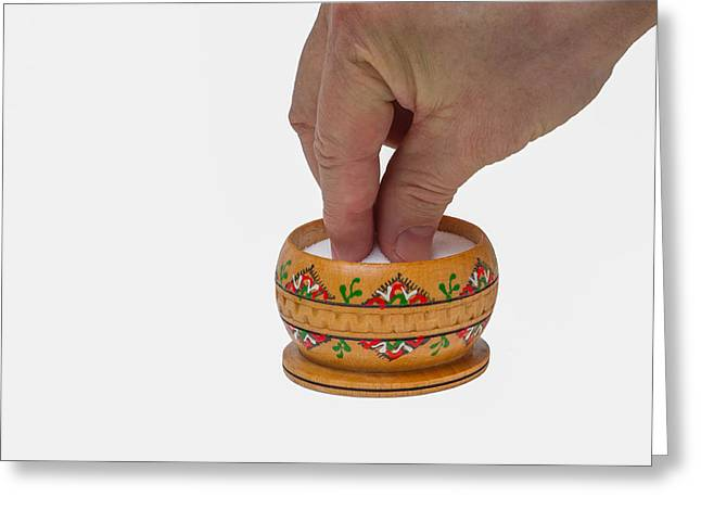 Wooden Bowls Greeting Cards - With a grain of salt - Featured 3 Greeting Card by Alexander Senin