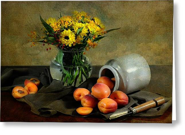 Bowl Of Flowers Greeting Cards - With Apricots Greeting Card by Diana Angstadt