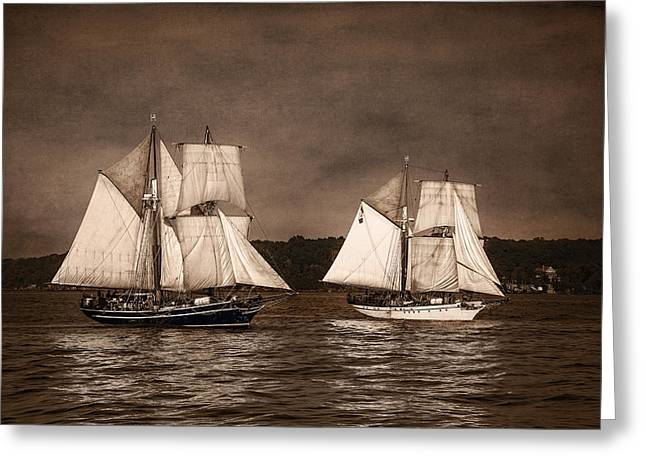 Pirate Ship Greeting Cards - With Full Sails Greeting Card by Dale Kincaid