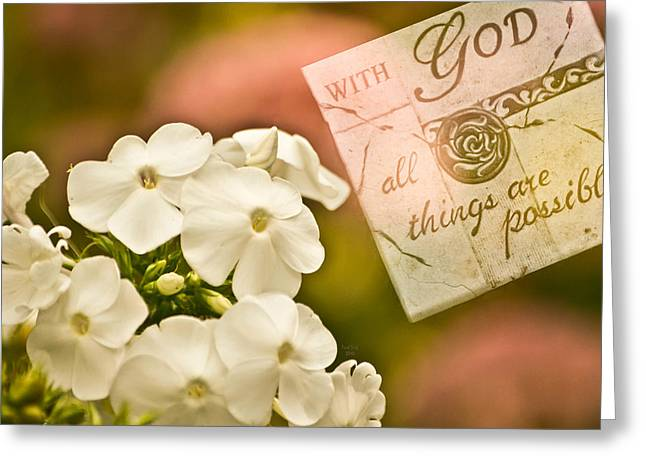 Stepping Stones Mixed Media Greeting Cards - With God All Things Are Possible Greeting Card by Trish Tritz
